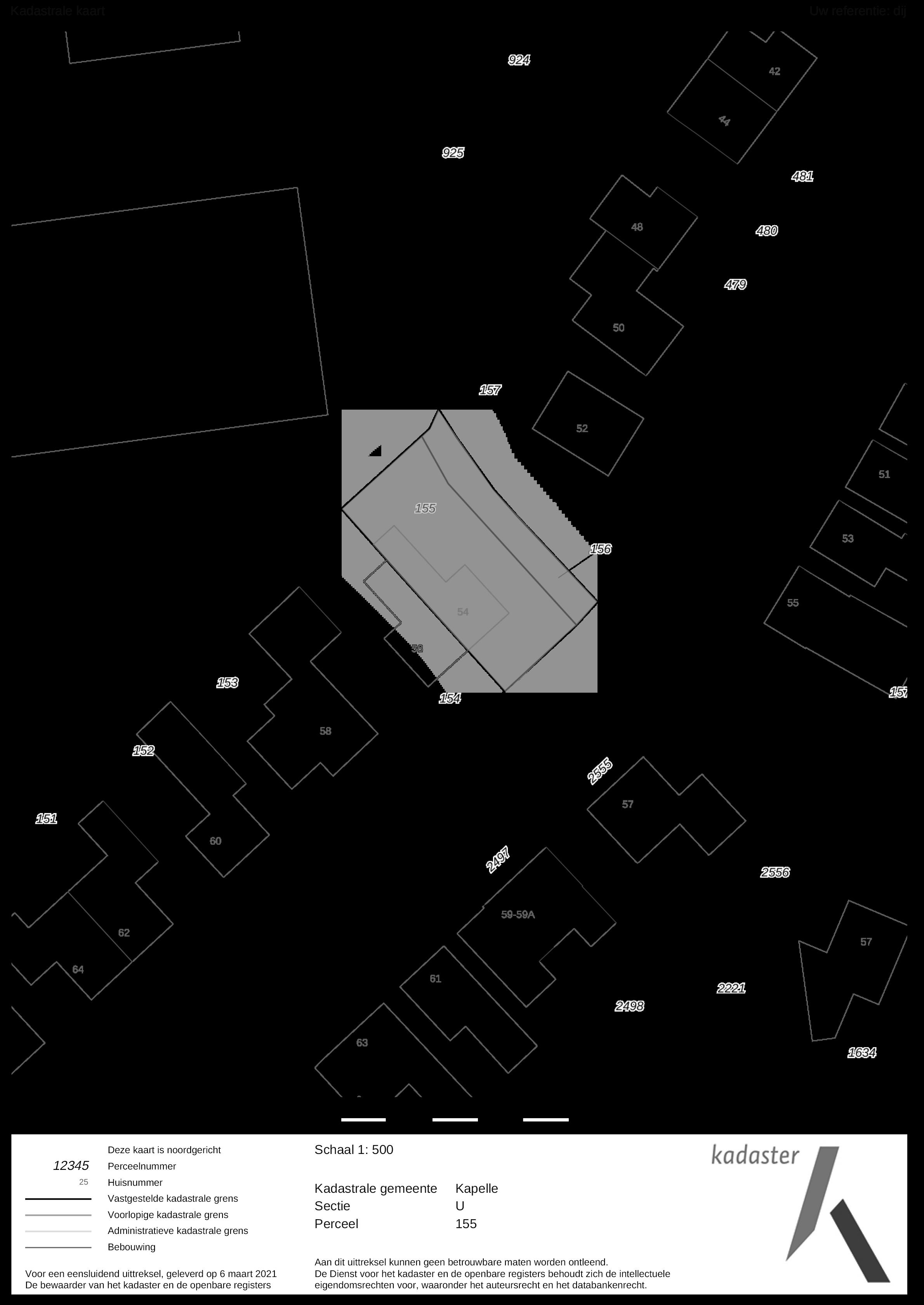 kadastrale kaart dijkwelsestraat 54 kapelle ism makelaars