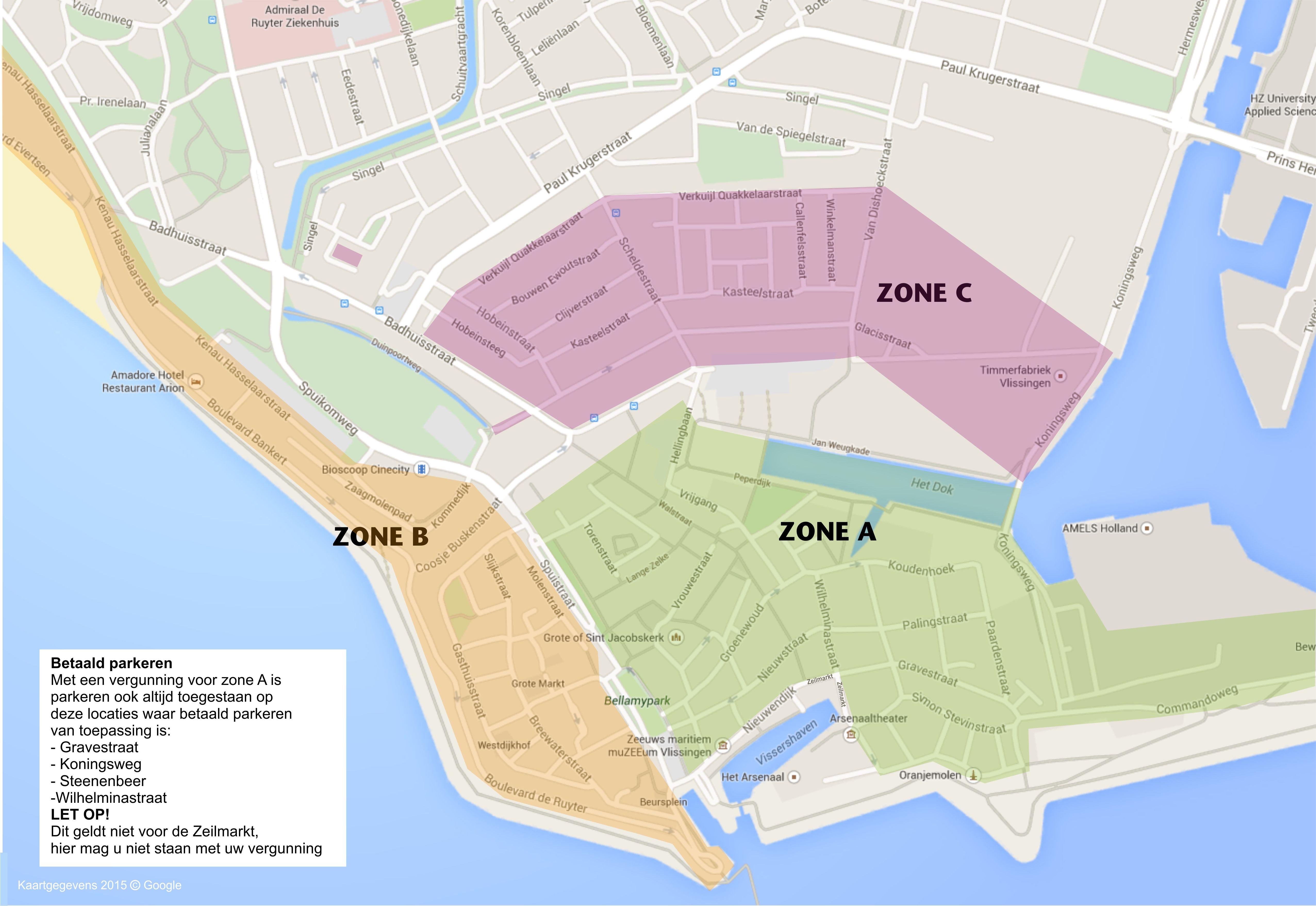 Afbeelding parkeerzones binnenstad Vlissingen