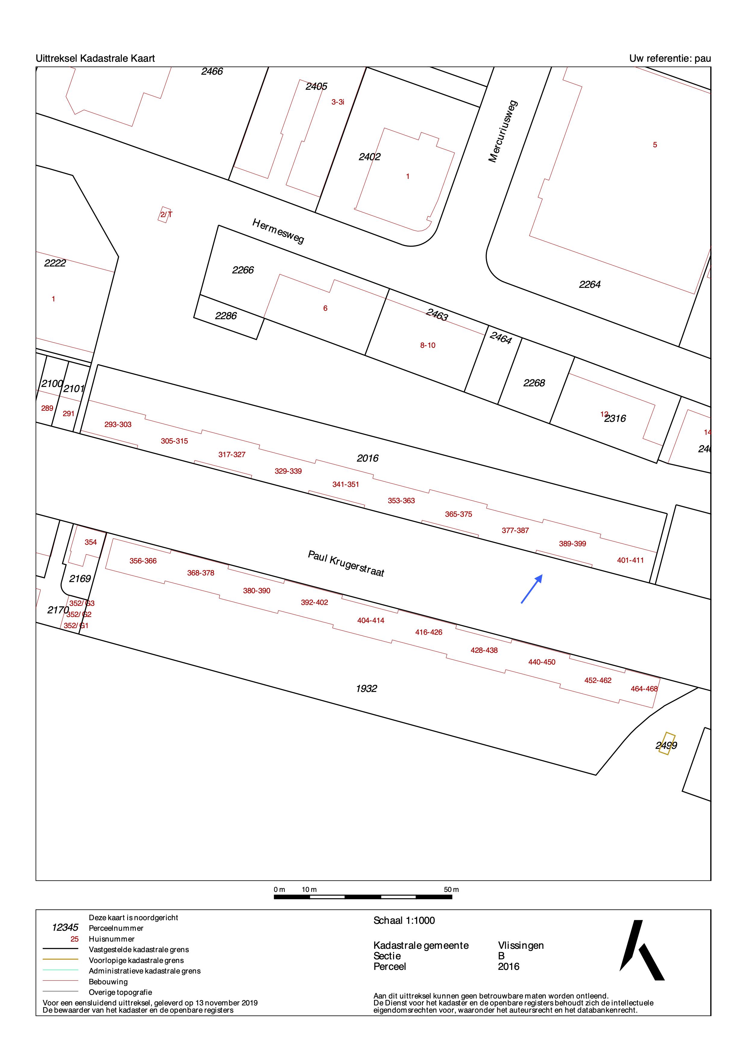 kadastrale tekening paul krugerstraat 389 vlissingen ism makelaars