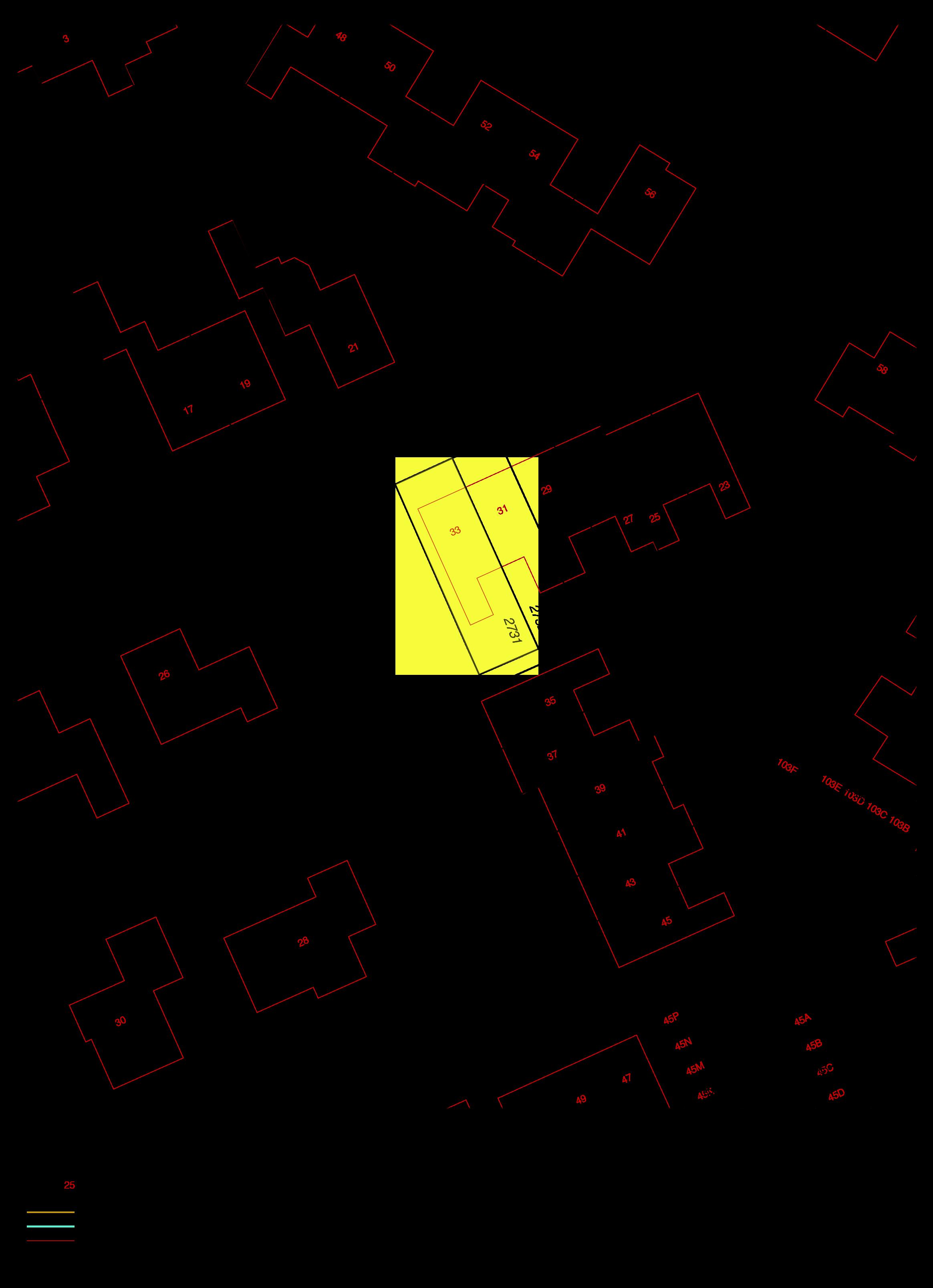 Uittreksel kadastrale kaart Esdoornstraat 33