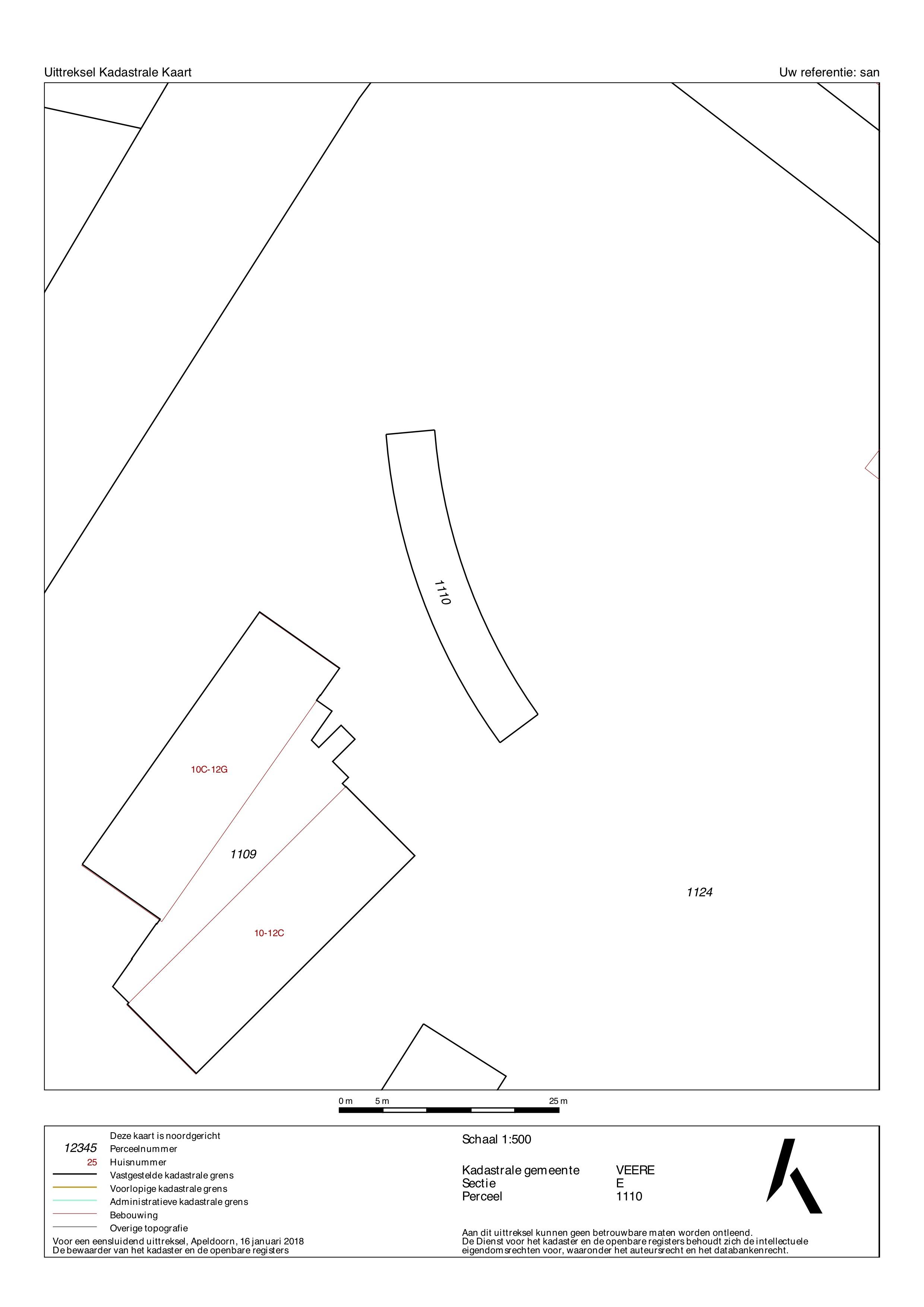 Uittreksel kadastrale kaart Sandenburghlaan 12 E Veere ISM Makelaars