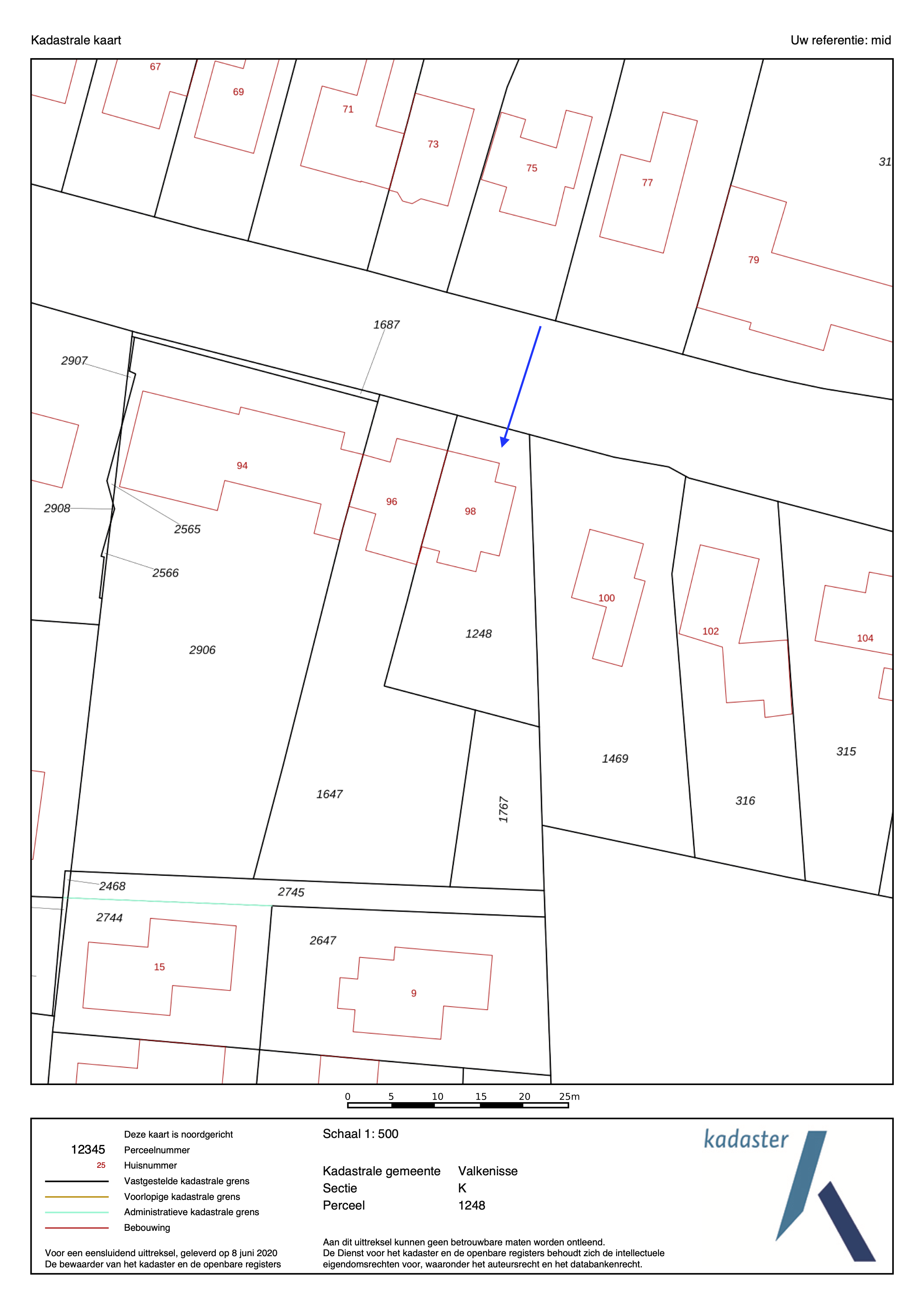 kadastrale kaart middelburgsestraat 98 koudekerke ism makelaars