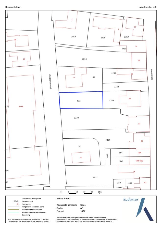 kadastrale kaart Oostkerkestraat Wolphaartsdijk ISM Makelaars