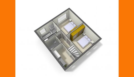 3d plattegrond 1e verdieping (optie verbouwing) van walenburghof 5 wolphaartsdijk ISM Makelaars