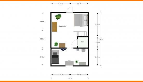 2d plattegrond verdieping veerweg 43 wolphaartsdijk ism makelaars